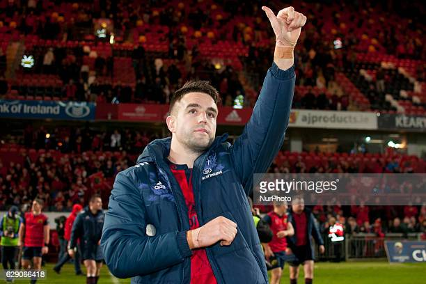 Conor Murray of Munster celebrates after the European Rugby Champions Cup Round 3 between Munster Rugby and Leicester Tigers at Thomond Park Stadium...