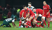 Conor Murray of Munster passes the ball during the European Rugby Champions Cup match between Munster and Leicester Tigers at Thomond Park on...