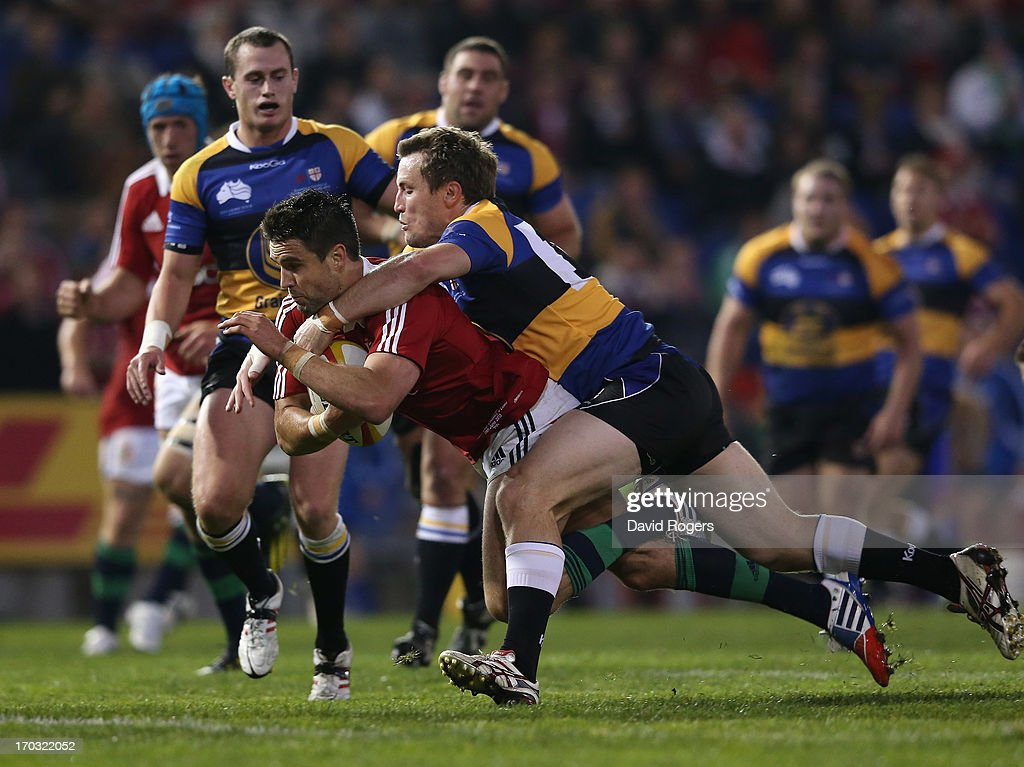 Conor Murray of the Lions dives over for a try during the match between Combined Country and the British & Irish Lions at Hunter Stadium on June 11, 2013 in Newcastle, Australia.