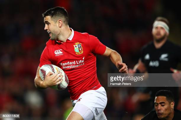 Conor Murray of the Lions makes a break during the Test match between the New Zealand All Blacks and the British Irish Lions at Eden Park on June 24...