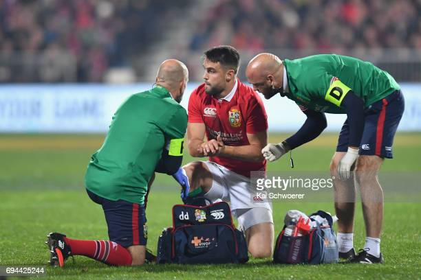 Conor Murray of the Lions receives medical help during the match between the Crusaders and the British Irish Lions at AMI Stadium on June 10 2017 in...