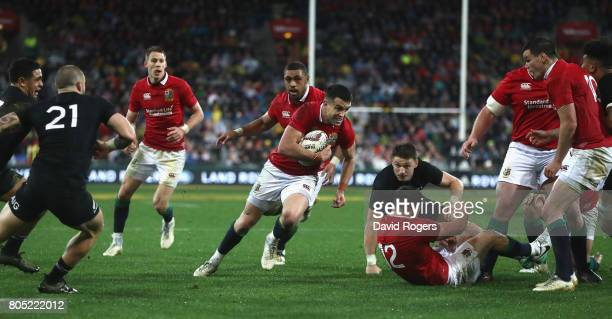 Conor Murray the Lions scrumhalf breaks clear to score their second try during the match between the New Zealand All Blacks and the British Irish...