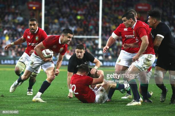 Conor Murray the Lions scrumhalf breaks with the ball to score their second try during the match between the New Zealand All Blacks and the British...