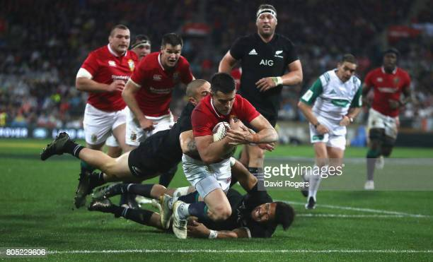 Conor Murray the Lions scrumhalf dives over for their second try during the match between the New Zealand All Blacks and the British Irish Lions at...