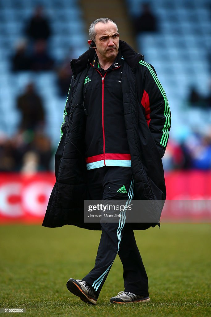 Conor O'Shea Director of Rugby for Harlequins looks on ahead of the Aviva Premiership match between Harlequins and Worcester Warriors at Twickenham...