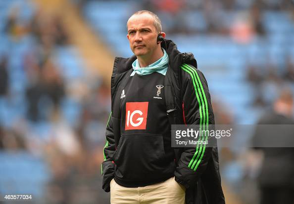Conor O'Shea Director of Rugby of Wasps during the Aviva Premiership match between Wasps and Harlequins at the Ricoh Arena on February 15 2015 in...