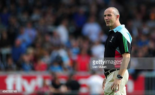 Conor O'Shea Harlequins' Director of Rugby looks on ahead of the Aviva Premiership match between Exeter Chiefs and Harlequins at Sandy Park on...