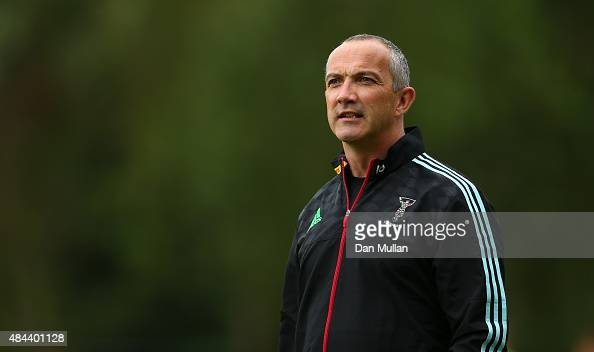 Conor O'Shea Harlequins' Director of Rugby looks on during a training session held at Surrey Sports Park on August 18 2015 in Guildford England