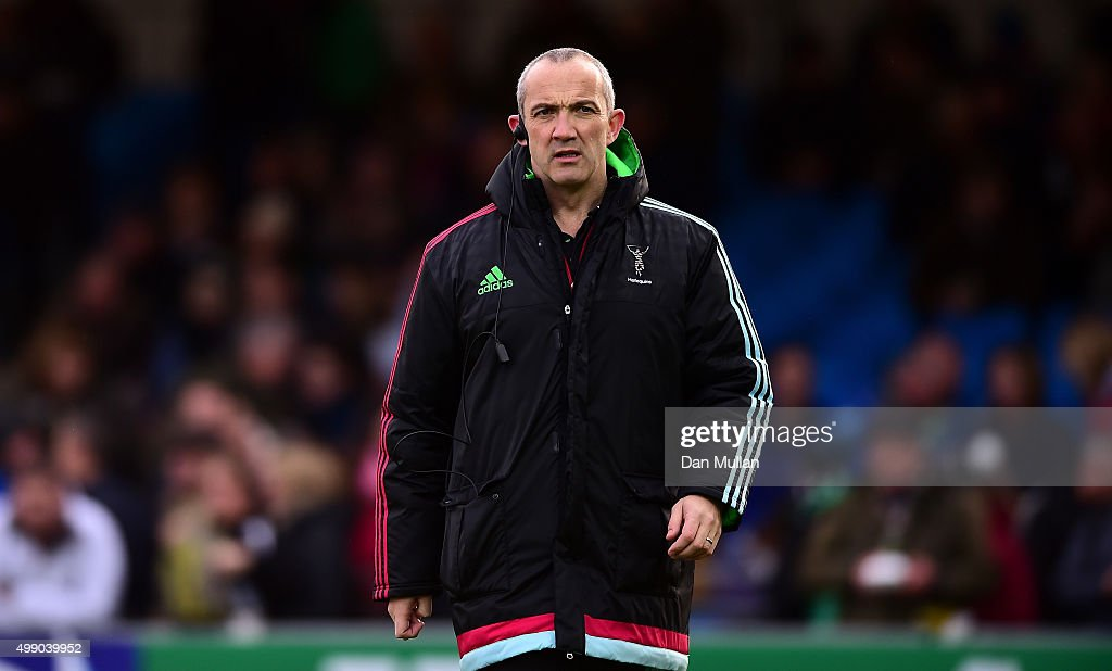 Conor O'Shea Harlequins' Director of Rugby looks on prior to the Aviva Premiership match between Exeter Chiefs and Harlequins at Sandy Park on...