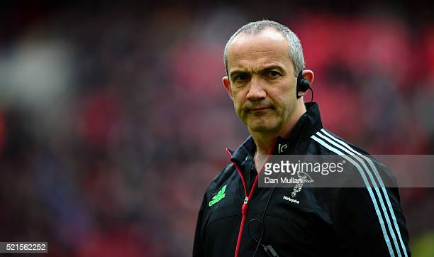 Conor O'Shea Harlequins' Director of Rugby looks on prior to the Aviva Premiership match between Saracens and Harlequins at Wembley Stadium on April...