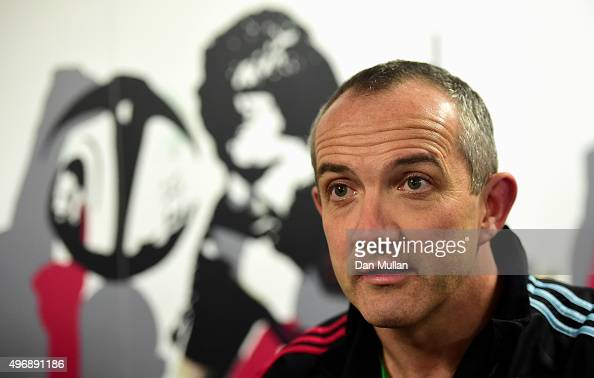 Conor O'Shea Harlequins' Director of Rugby speaks to the media following the European Rugby Challenge Cup Pool 3 match between Harlequins and...