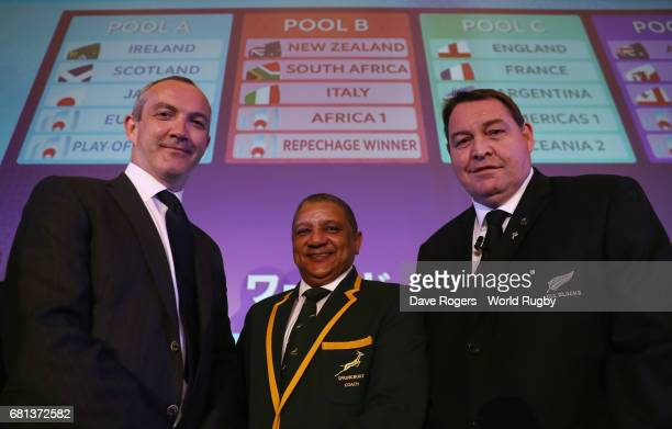 Conor O'Shea Head Coach of Italy Allister Coetzee Head Coach of South Africa and Steve Hansen Head Coach of New Zealand pose during the Rugby World...