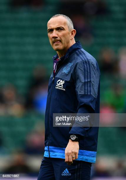 Conor O'Shea Head Coach of Italy looks on ahead of the RBS Six Nations match between England and Italy at Twickenham Stadium on February 26 2017 in...