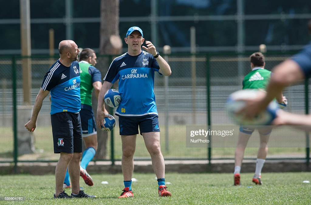 <a gi-track='captionPersonalityLinkClicked' href=/galleries/search?phrase=Conor+O%27Shea&family=editorial&specificpeople=2183490 ng-click='$event.stopPropagation()'>Conor O'Shea</a> new head coach of Italian Rugby team during the training session on May 30, 2016 in Rome, Italy.