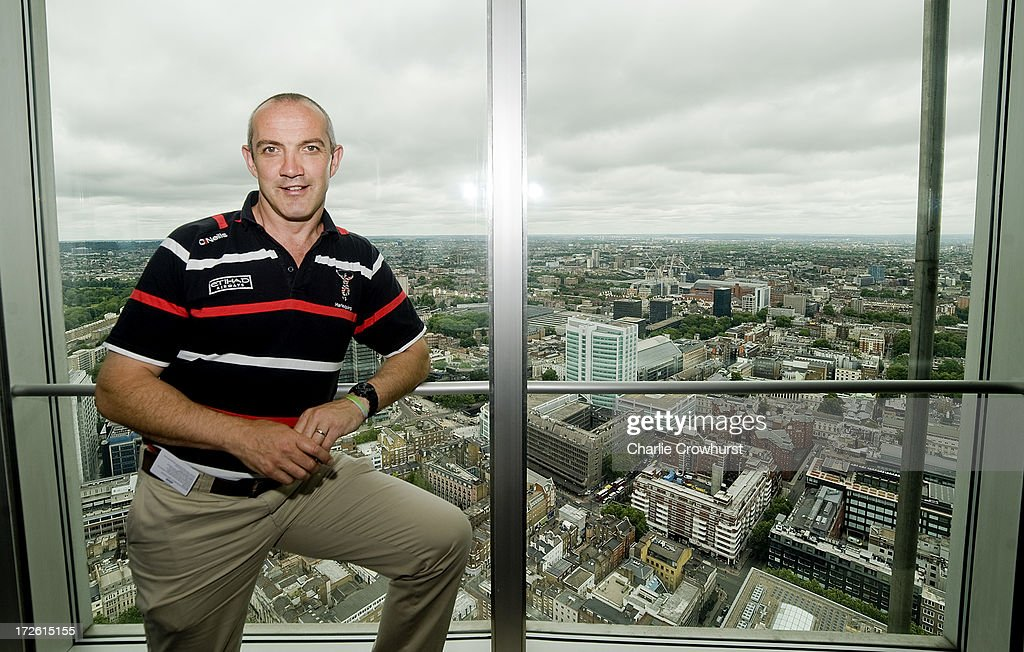Conor O'Shea of Harlequins stands in the BT Tower over looking london during the 2013-14 Aviva Premiership Rugby Season Fixtures Announcement at The BT Tower on July 4, 2013 in London, England.