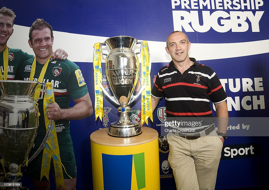 Conor O'Shea of Harlequins stands with the Aviva Premiership Trophy during the 2013-14 Aviva Premiership Rugby Season Fixtures Announcement at The BT Tower on July 4, 2013 in London, England.
