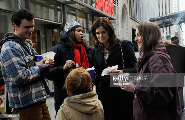 Conor Romero Betsy Brandt Jack Gore and Katie Finneran On Location For 'Michael J Fox Project' on February 2 2013 in New York City