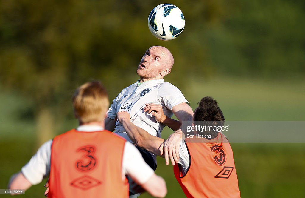 Conor Salmon of the Republic of Ireland goes up for a header during an Ireland training session at Watford FC Training Ground on May 26, 2013 near St Albans, London Colney, England.