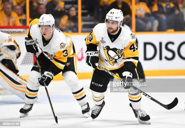 Conor Sheary and Olli Maatta of the Pittsburgh Penguins line up for the defensive zone faceoff in the second period of Game Six of the 2017 NHL...