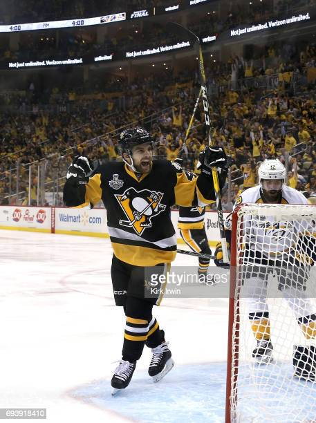 Conor Sheary of the Pittsburgh Penguins celebrates scoring his team's fourth goal against the Nashville Predators in the second period in Game Five...
