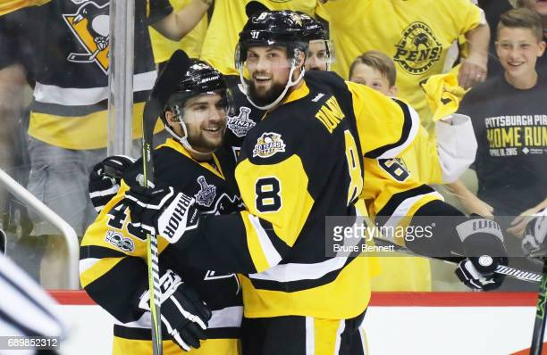 Conor Sheary of the Pittsburgh Penguins celebrates with Brian Dumoulin of the Pittsburgh Penguins after scoring a goal during the first period in...