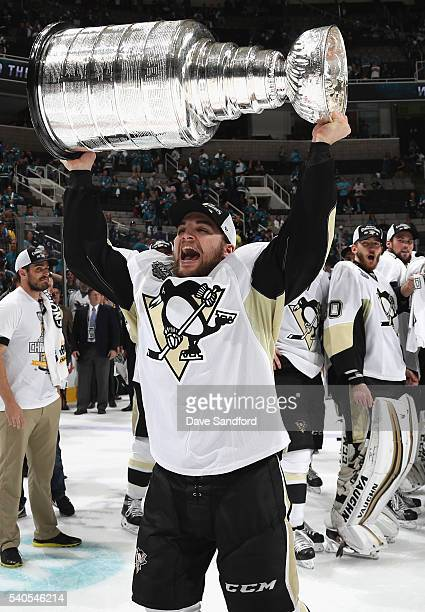 Conor Sheary of the Pittsburgh Penguins celebrates with the Stanley Cup after the Penguins won Game 6 of the 2016 NHL Stanley Cup Final over the San...