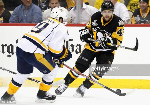 Conor Sheary of the Pittsburgh Penguins plays in the second period of Game Two of the 2017 NHL Stanley Cup Final against the Nashville Predators at...