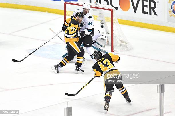 Conor Sheary of the Pittsburgh Penguins scores a first period goal against Martin Jones of the San Jose Sharks in Game One of the 2016 NHL Stanley...