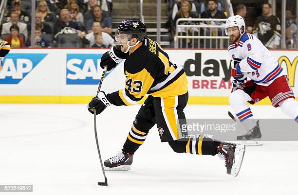 Conor Sheary of the Pittsburgh Penguins shoots and scores in the second period in Game Five of the Eastern Conference First Round against the New...
