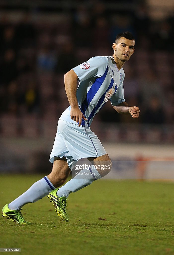 Conor Thomas of Coventry City in action during the Sky Bet League One match between Coventry City and Bradford City at Sixfields Stadium on April 1, 2014 in Northampton, England.