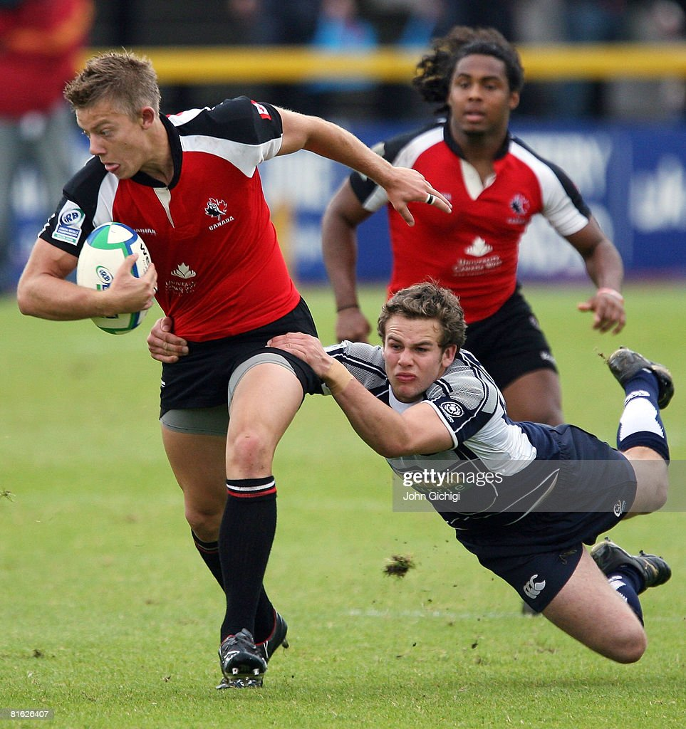 Conor Trainor of Canada escapes a tackle during the IRB Junior World Championships game between Scotland and Canada on June 18 2008 at Rodney Parade...
