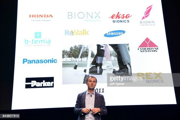 Conor Walsh speaks during the 'Can Technology Save Humankind' during the Technology with Heart Jaguar Land Rover's Tech Fest at Central St Martins on...