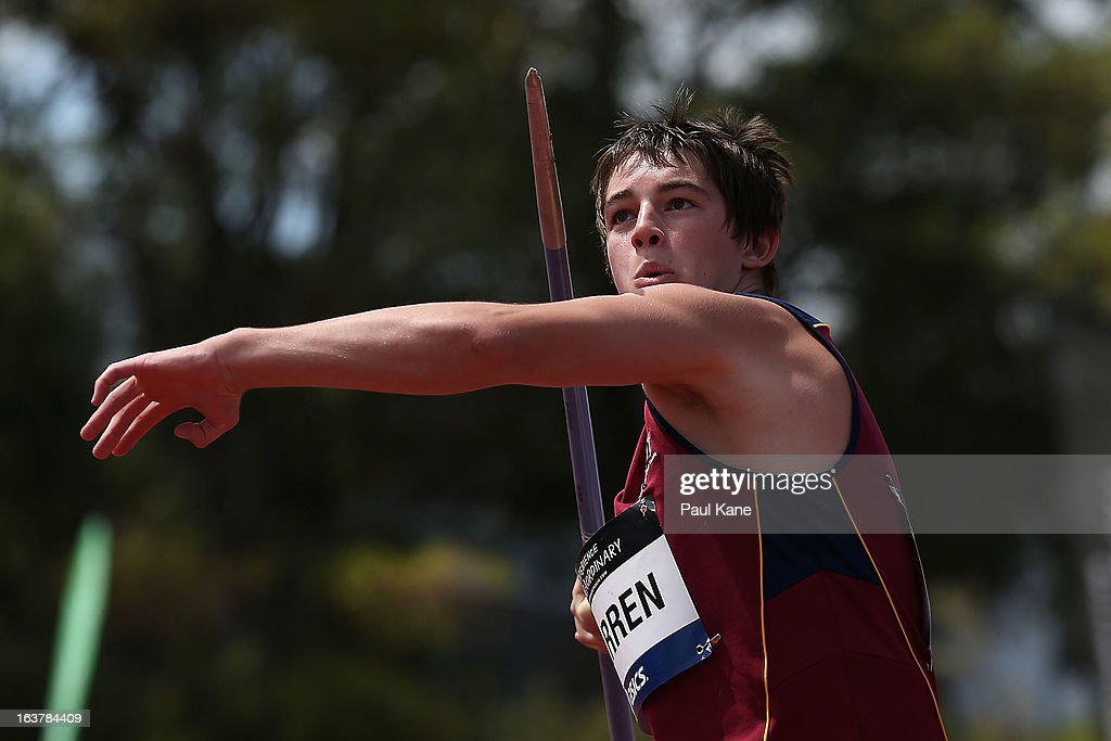 Conor Warren of Queensland competes in the men's u16 javelin throw during day five of the Australian Junior Championships at the WA Athletics Stadium on March 16, 2013 in Perth, Australia.