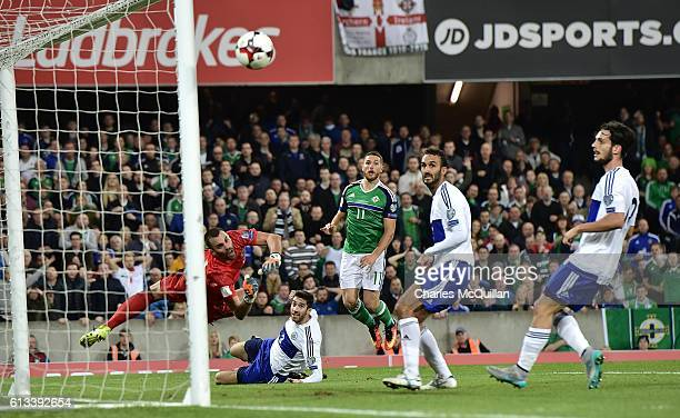 Conor Washington of Northern Ireland almost scores during the FIFA 2018 World Cup Qualifier between Northern Ireland and San Marino at Windsor Park...