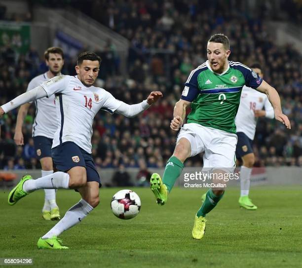Conor Washington of Northern Ireland and Omar Elabdellaoui of Norway during the FIFA 2018 World Cup Qualifier between Northern Ireland and Norway at...