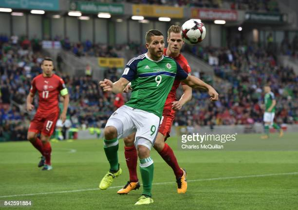 Conor Washington of Northern Ireland and Tomas Kalas of Czech Republic during the FIFA 2018 World Cup Qualifier between Northern Ireland and Czech...