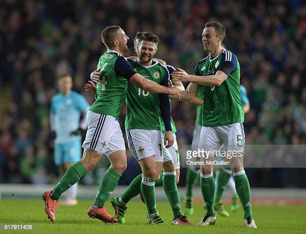 Conor Washington of Northern Ireland celebrates after scoring during the international friendly between Northern Ireland and Slovenia at Windsor Park...