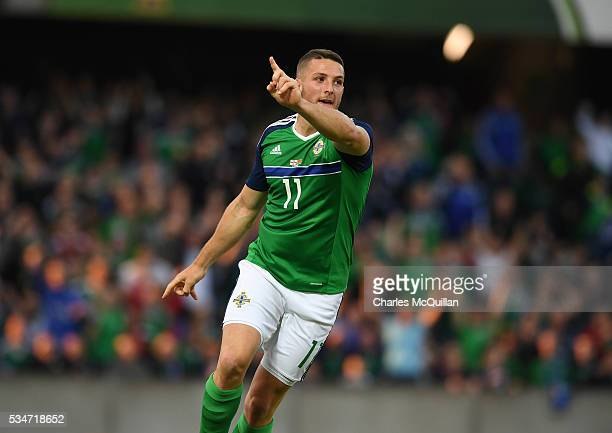 Conor Washington of Northern Ireland celebrates after scoring during the international friendly game between Northern Ireland and Belarus on May 27...