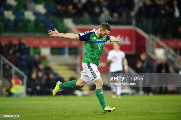 Conor Washington of Northern Ireland celebrates after scoring during the FIFA 2018 World Cup Qualifier between Northern Ireland and Norway at Windsor...