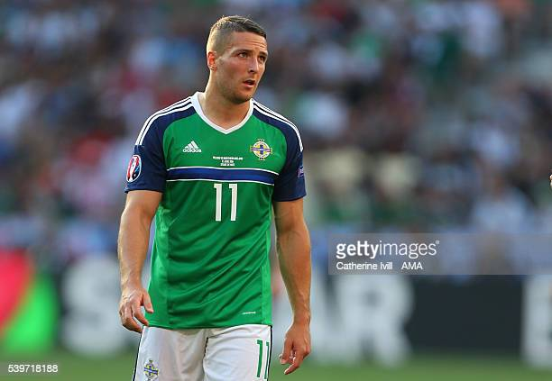 Conor Washington of Northern Ireland during the UEFA EURO 2016 Group C match between Poland and Northern Ireland at Allianz Riviera Stadium on June...
