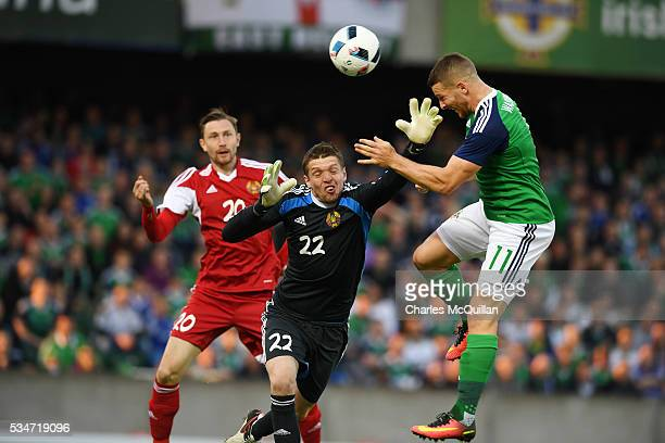 Conor Washington of Northern Ireland scores during the international friendly game between Northern Ireland and Belarus on May 27 2016 in Belfast...