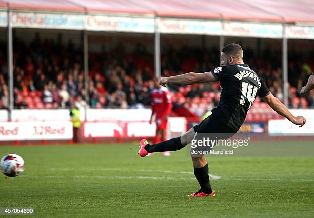 Conor Washington of Peterborough scores to make it 41 during the Sky Bet League One match between Crawley Town and Peterborough United at Broadfield...