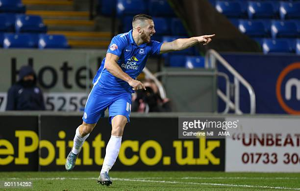 Conor Washington of Peterborough United celebrates after scoring to make it 10 during the Sky Bet League One match between Peterborough United and...