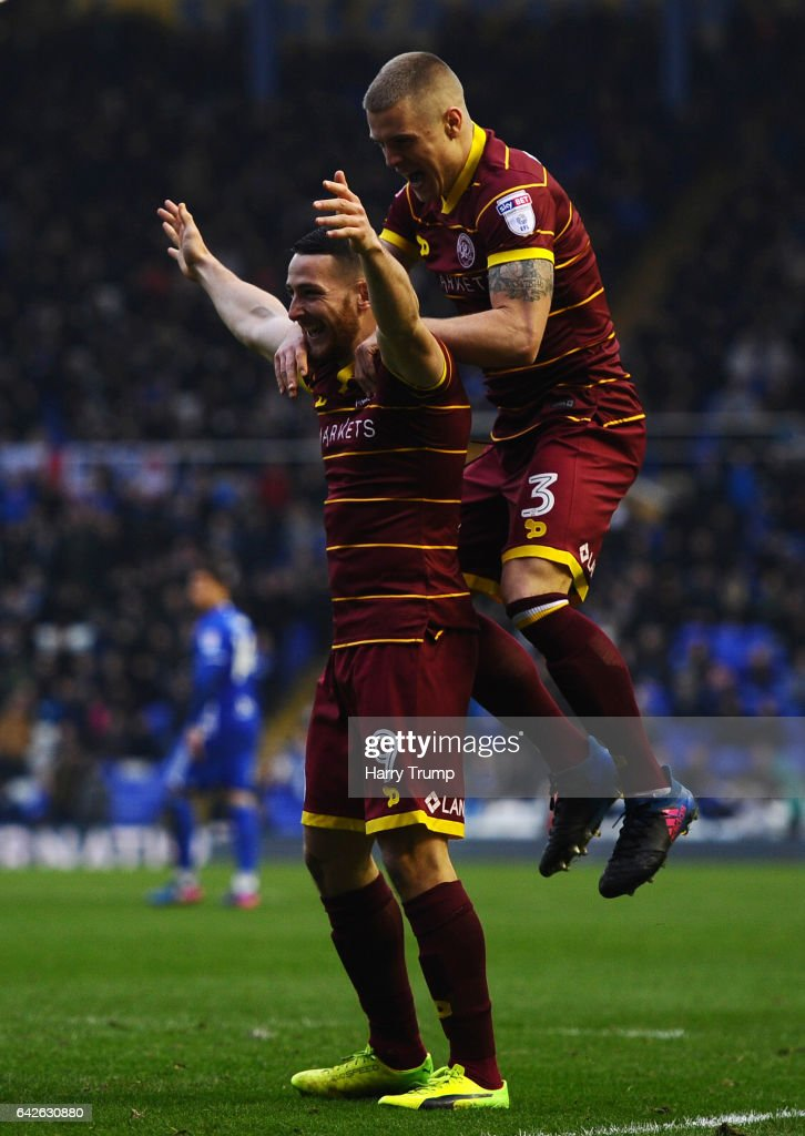 Conor Washington of QPR(L) celebrates scoring his side's second goal with Jake Bidwell of QPR during the Sky Bet Championship match between Birmingham City and Queens Park Rangers at St Andrews Stadium on February 18, 2017 in Birmingham, England.
