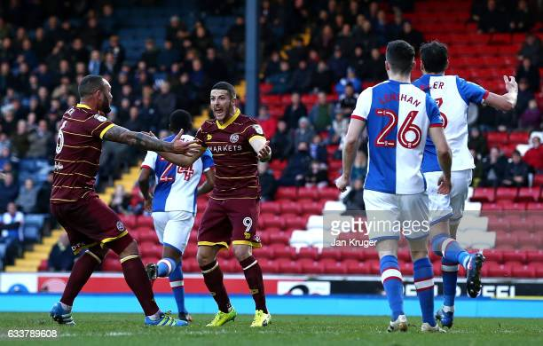 Conor Washington of Queens Park Rangers appeals to the assistant referee after his shot at goal was disallowed during the Sky Bet Championship match...
