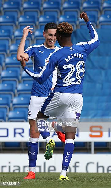 Conor Wilkinson of Chesterfield celebrates with Gboly Ariyibi after scoring his sides first goal during the Sky Bet League One match between...