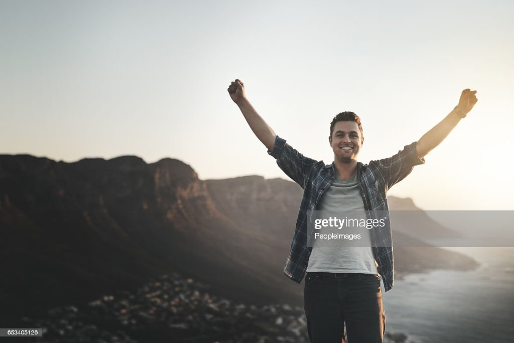 I conquered the mountain : Stock Photo