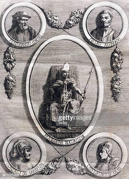 Conquerors and conquered Moctezuma II Hernan Cortes Pedro de Alvarado Gonzalo de Sandoval and Olid Italian engraving 19th century