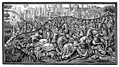 This vintage engraving from a 15th century manuscript depicts the epic battle for Jerusalem led by Charlemagne, King of Franks (742 - 814) in the Crusades of the Middle Ages. He is often regarded as t
