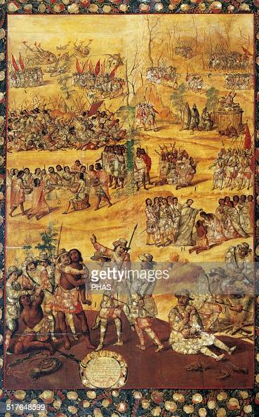 Conquest of Mexico Anonimous table 16761700 Spaniards cut the hands to the Xicoteca's spies and cooking dog meat Museum of America Madrid Spain